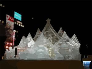 One Of Several Snow And Ice Sculptures Is Lit Up For Night Time Viewers At The 54th Annual International Sapporo Snow Festival Clip Art