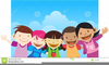 Children Waving Goodbye Clipart Image