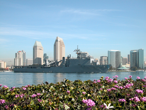The Amphibious Dock Landing Ship Uss Germantown (lsd 42) Sails Past Downtown San Diego, Calif. On Its Way To Loved Ones Waiting Pier Side At Naval Base San Diego. Image