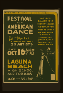 Festival Of American Dance Featuring Myra Kinch With Modern Dance Group Of 23 Artists Satires, Ballet Of 1840, Divertissements, Coronation, Song Of Judea, An American Exodus. Clip Art