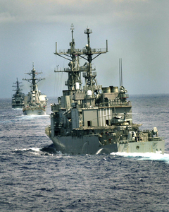 Enterprise Carrier Strike Group Ships, Uss Thorn (dd 988), Uss Cole (ddg 67), And The Uss Gonzalez (ddg 66), Perform Divisional Tactics While Underway In The Atlantic Ocean Image