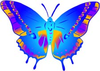 Vintage Butterfly Cartoon Blue Image