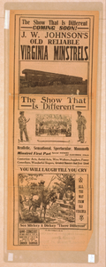 J.w. Johnson S Old Reliable Virginia Minstrels The Show That Is Different. Image