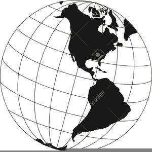 World Globe Clipart Black And White Image