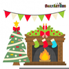 Christmas Fireplace Clipart Free Image