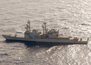 An Aerial Of The Destroyer Uss Cushing (dd 985) Shown Underway At Sea Image