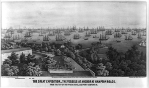 The Great Expedition- The Vessels At Anchor At Hampton Roads, From The Top Of The Hygeia Hotel, Old Point Comfort, Va. Image