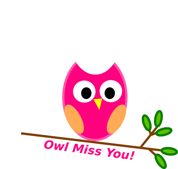 You Will Be Missed Clipart Owl miss you pink clip art