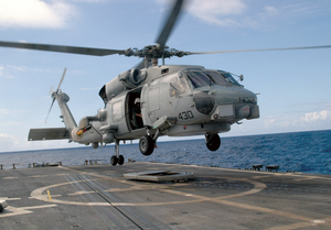 An Sh-60b Seahawk Assigned To The Proud Warriors Of Light Helicopter Anti-submarine Squadron Four Two (hsl-42) Lifts Off The Fight Deck Aboard The Oliver Hazard Perry Class Frigate Uss Stephen W. Groves (ffg 29). Image