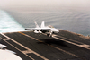 An F/a-18f Super Hornet Assigned To  Strike Fighter Squadron Forty-one (vfa-41) Aboard The Aircraft Carrier Uss Nimitz (cvn 68) Comes In For A Landing On The Flight Deck Of Aircraft Carrier Uss Abraham Lincoln (cvn 72) Image