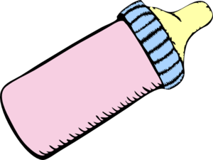 Baby Pink And Blue Bottle Clip Art