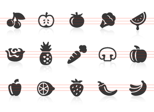 Fruit And Vegetables Icons Image
