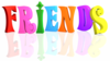 Text Friends Multicolor Reflection Tranparent Background Image