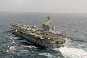 The Nuclear-powered Aircraft Carrier Uss Nimitz (cvn 68) Sails Through The Indian Ocean. Image