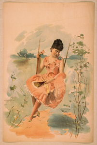[woman Wearing Pink Dress, Holding Fan, And Sitting On Swing] Image