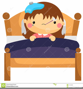 Girl Sick In Bed Clipart Image