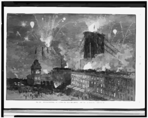 The Great Bridge - Fire-works And Illumination, From The Brooklyn Side  / Drawn By Charles Graham. Clip Art