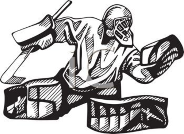 Hockey Goalie In Black And White Clipart Image Free