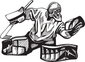 Hockey Goalie In Black And White Clipart Image Image