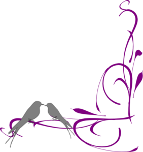 Floral Swirly Bird Bottom Corner Clip Art