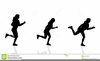 Silhouette Woman Running Clipart Image
