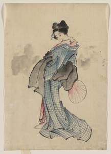 [woman, Full-length Portrait, Standing, Facing Left, Holding Fan In Right Hand, Wearing Kimono With Check Design] Image