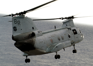 A Ch-46 Sea Knight From Helicopter Combat Support Squadron Eight (hc-8) Picks Up Another Load Of Supplies Image