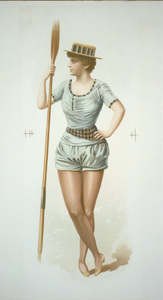 Woman Rower Holding Ore Image