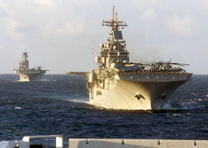 Kearsarge (lhd-3) And Uss Bataan (lhd-5) Sail In Formation Image