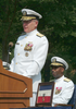 Rear Adm. Barry C. Black, Chief Of Navy Chaplains Listens To Adm. Vern Clark, Chief Of Naval Operations (cno) Make Remarks At His Change Of Office And Retirement Ceremony Held At The Washington Navy Yard. Image