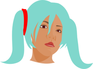 Girl With Blue Hair In Pigtails Clip Art