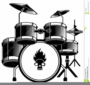 Drum Set Clipart Black And White Image