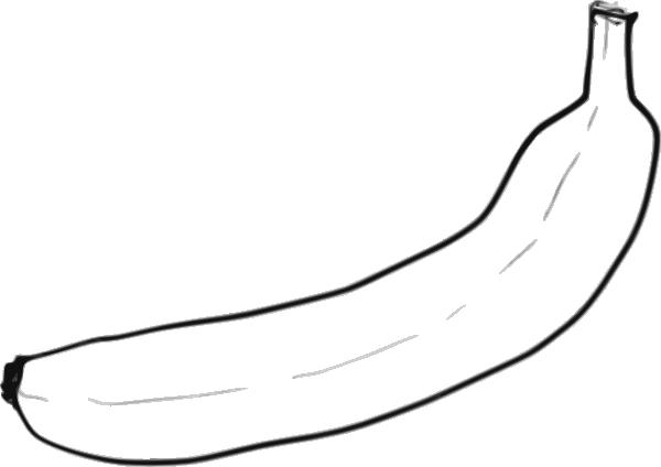 Single Line Clipart : Banana fruit cartoon black and white imgkid