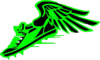 Winged Foot, Green And Black Clip Art