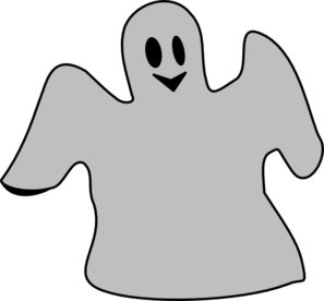 Smiling Gray Ghost Clip Art