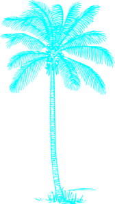 Light Aqua Palm Tree Clip Art