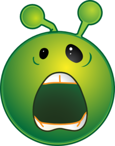 Smiley Green Alien Whaaa No Shadow Clip Art