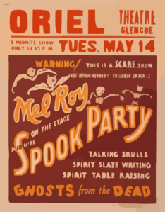 Mel Roy On The Stage Mid-nite, Spook Party Talking Skulls, Spirit Slate Writing, Spirit Table Raising, Ghosts From The Dead. Clip Art