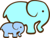 Blue Elephant Mom & Baby Clip Art