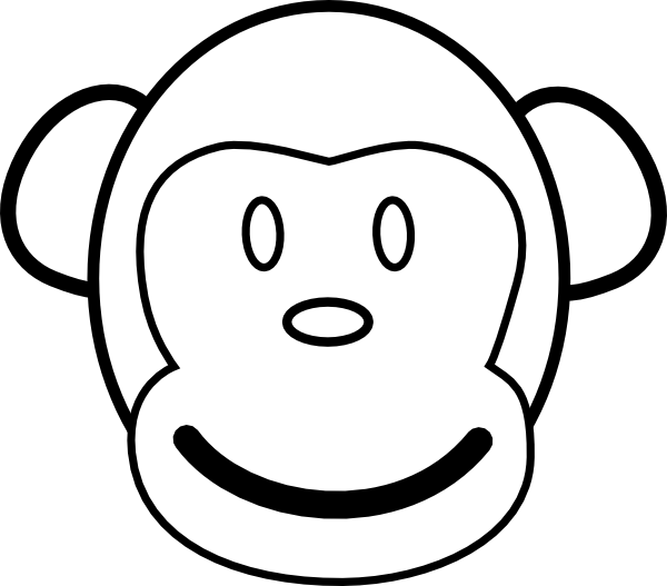 Line Drawing Of Monkey Face : Monkey face clip art at clker vector online