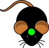 Black Mouse W/ Green Circle Clip Art