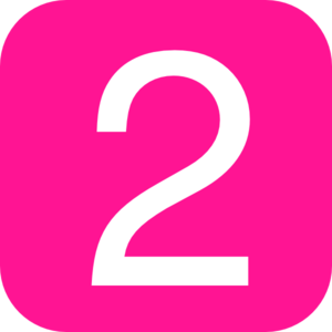 Pink, Rounded, Square With Number 2 Clip Art