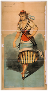 [chorus Girl In Striped Skirt And Striped Socks] Image