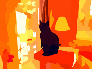 Black Cat On Tower In Living Room Vector Contrast Colour Enhance Darker Image