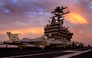 F/a-18f Super Hornets Are Prepared For Night Flight Operations Image
