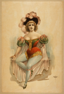 [woman Wearing Brief Costume, Blue Tights, Pink Cape With Feathers In Her Hair] Image