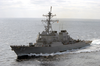 Uss Curtis Wilbur (ddg 54) Conducts Operations With The Uss Kitty Hawk (cv 63) Battle Group During Exercise Keen Sword 2003. Image