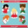 Christmas Tree Angels Clipart Image