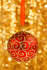 Christmas Bauble On Gold Uek Image