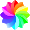 Shaded Rainbow Flower  Clip Art